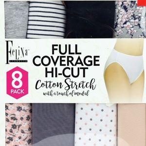 Felina Women's 8-Pack Full Coverage Hi-Cut Briefs
